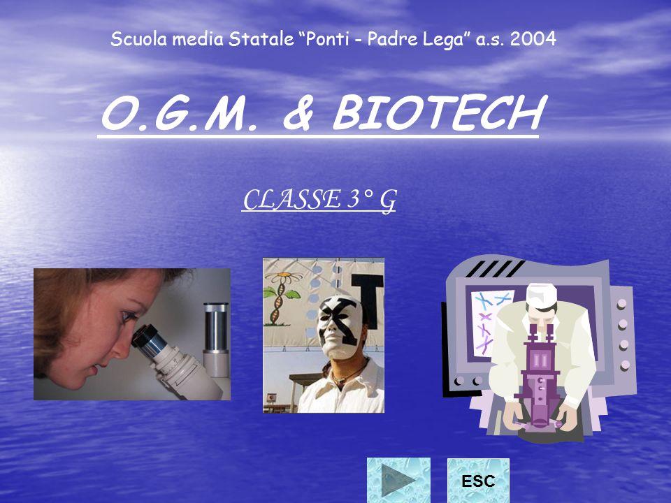 """Scuola media Statale """"Ponti - Padre Lega"""" a.s. 2004 O.G.M. & BIOTECH CLASSE 3° G ESC"""