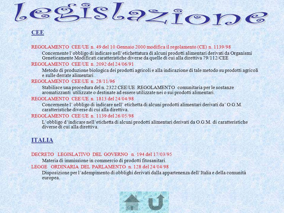 CEE REGOLAMENTO CEE/UE n. 49 del 10 Gennaio 2000 modifica il regolamento (CE) n. 1139/98 Concernente l'obbligo di indicare nell'etichettatura di alcun