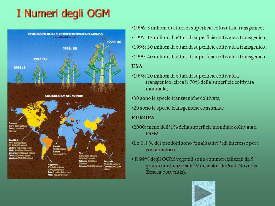 I Numeri degli OGM 1996: 3 milioni di etteri di superficie coltivata a transgenico; 1997: 13 milioni di ettari di superficie coltivata a transgenico; 1998: 30 milioni di ettari di superficie coltivata a transgenico; 1999: 40 milioni di ettari di superficie coltivata a transgenico.