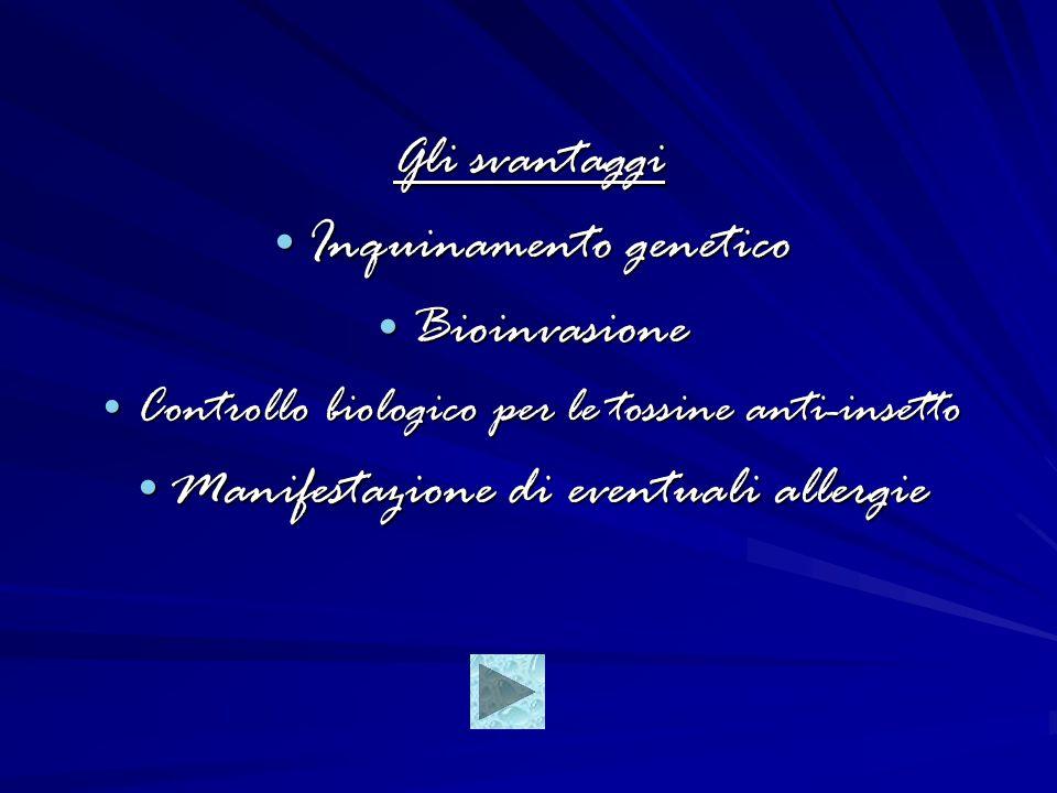 Gli svantaggi Inquinamento genetico Inquinamento genetico Bioinvasione Bioinvasione Controllo biologico per le tossine anti-insetto Controllo biologico per le tossine anti-insetto Manifestazione di eventuali allergie Manifestazione di eventuali allergie
