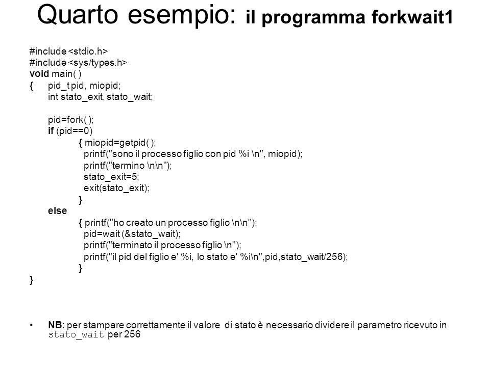 Quarto esempio: il programma forkwait1 #include void main( ) {pid_t pid, miopid; int stato_exit, stato_wait; pid=fork( ); if (pid==0) { miopid=getpid( ); printf( sono il processo figlio con pid %i \n , miopid); printf( termino \n\n ); stato_exit=5; exit(stato_exit); } else { printf( ho creato un processo figlio \n\n ); pid=wait (&stato_wait); printf( terminato il processo figlio \n ); printf( il pid del figlio e %i, lo stato e %i\n ,pid,stato_wait/256); } NB: per stampare correttamente il valore di stato è necessario dividere il parametro ricevuto in stato_wait per 256