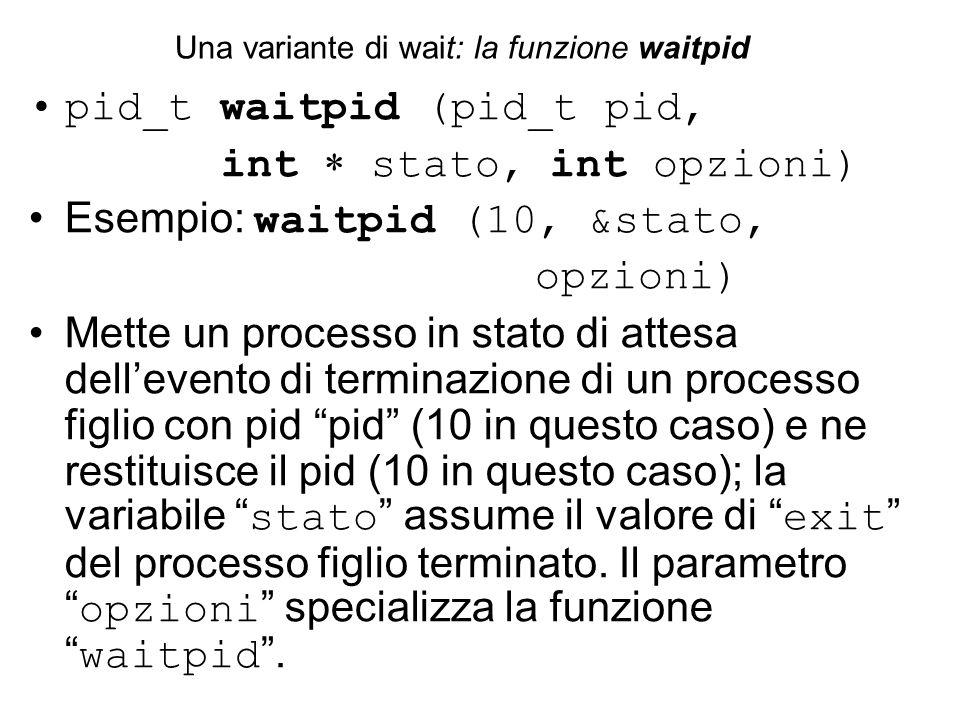 pid_t waitpid (pid_t pid, int  stato, int opzioni) Esempio: waitpid (10, &stato, opzioni) Mette un processo in stato di attesa dell'evento di terminazione di un processo figlio con pid pid (10 in questo caso) e ne restituisce il pid (10 in questo caso); la variabile stato assume il valore di exit del processo figlio terminato.