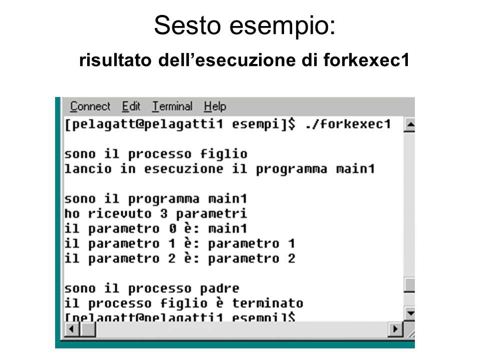 Sesto esempio: risultato dell'esecuzione di forkexec1