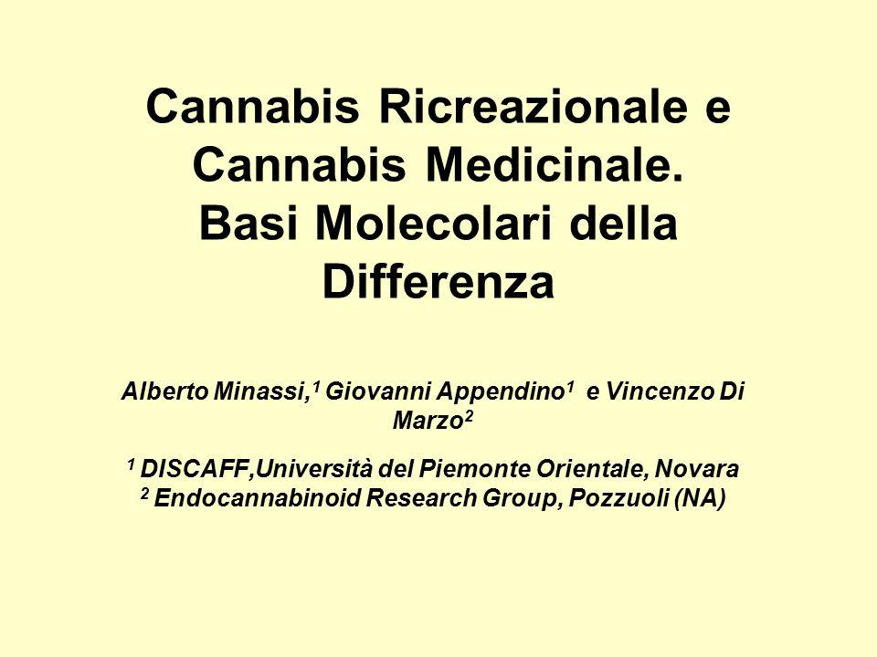 Cannabis Ricreazionale e Cannabis Medicinale. Basi Molecolari della Differenza Alberto Minassi, 1 Giovanni Appendino 1 e Vincenzo Di Marzo 2 1 DISCAFF