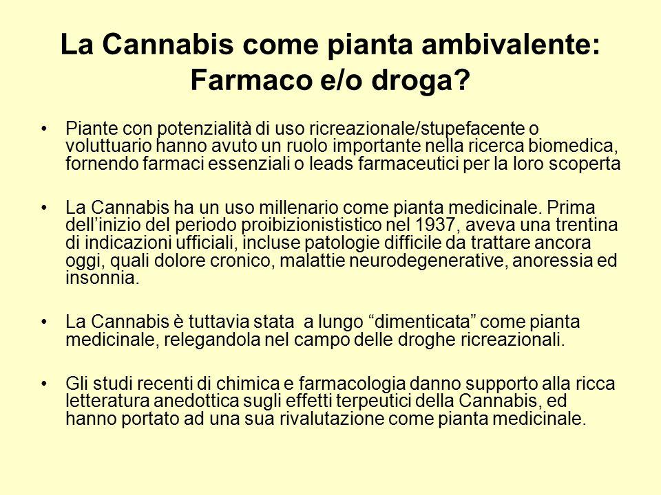 La Cannabis come pianta ambivalente: Farmaco e/o droga? Piante con potenzialità di uso ricreazionale/stupefacente o voluttuario hanno avuto un ruolo i