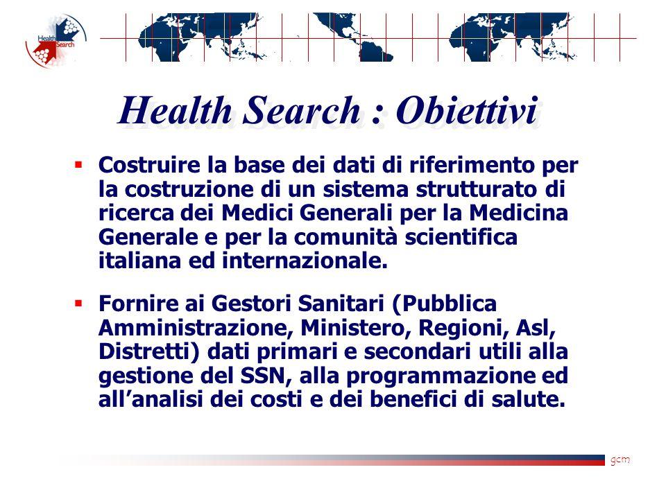 gcm Health Search : Obiettivi  Costruire la base dei dati di riferimento per la costruzione di un sistema strutturato di ricerca dei Medici Generali