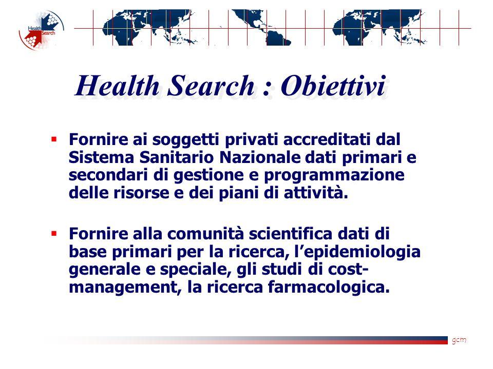 gcm Health Search : Obiettivi  Fornire ai soggetti privati accreditati dal Sistema Sanitario Nazionale dati primari e secondari di gestione e program