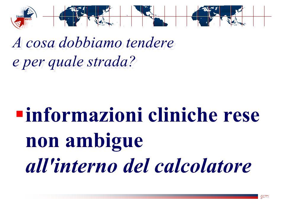 gcm A cosa dobbiamo tendere e per quale strada?  informazioni cliniche rese non ambigue all'interno del calcolatore
