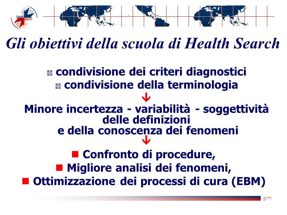 gcm condivisione dei criteri diagnostici condivisione della terminologia  Minore incertezza - variabilità - soggettività delle definizioni e della co