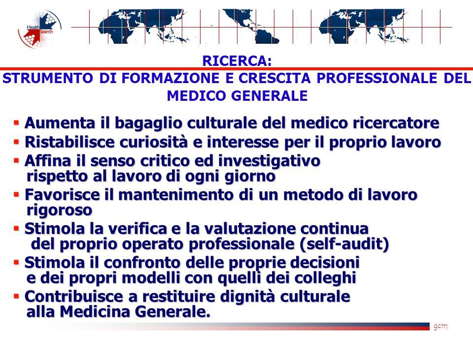 gcm  Aumenta il bagaglio culturale del medico ricercatore  Ristabilisce curiosità e interesse per il proprio lavoro  Affina il senso critico ed inv