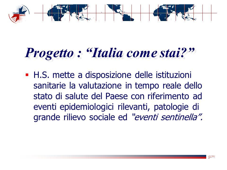 """gcm Progetto : """"Italia come stai?""""  H.S. mette a disposizione delle istituzioni sanitarie la valutazione in tempo reale dello stato di salute del Pae"""