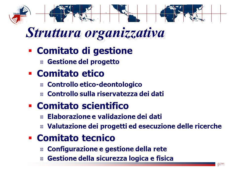 gcm Struttura organizzativa  Comitato di gestione Gestione del progetto  Comitato etico Controllo etico-deontologico Controllo sulla riservatezza de