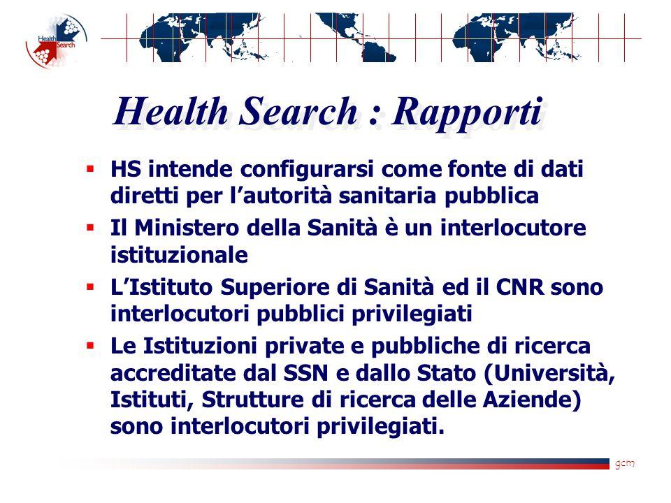 gcm Health Search : Rapporti  HS intende configurarsi come fonte di dati diretti per l'autorità sanitaria pubblica  Il Ministero della Sanità è un i