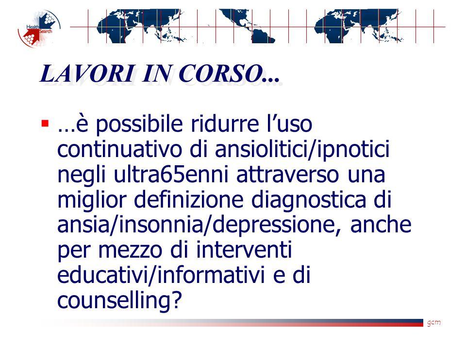 gcm LAVORI IN CORSO...  …è possibile ridurre l'uso continuativo di ansiolitici/ipnotici negli ultra65enni attraverso una miglior definizione diagnost