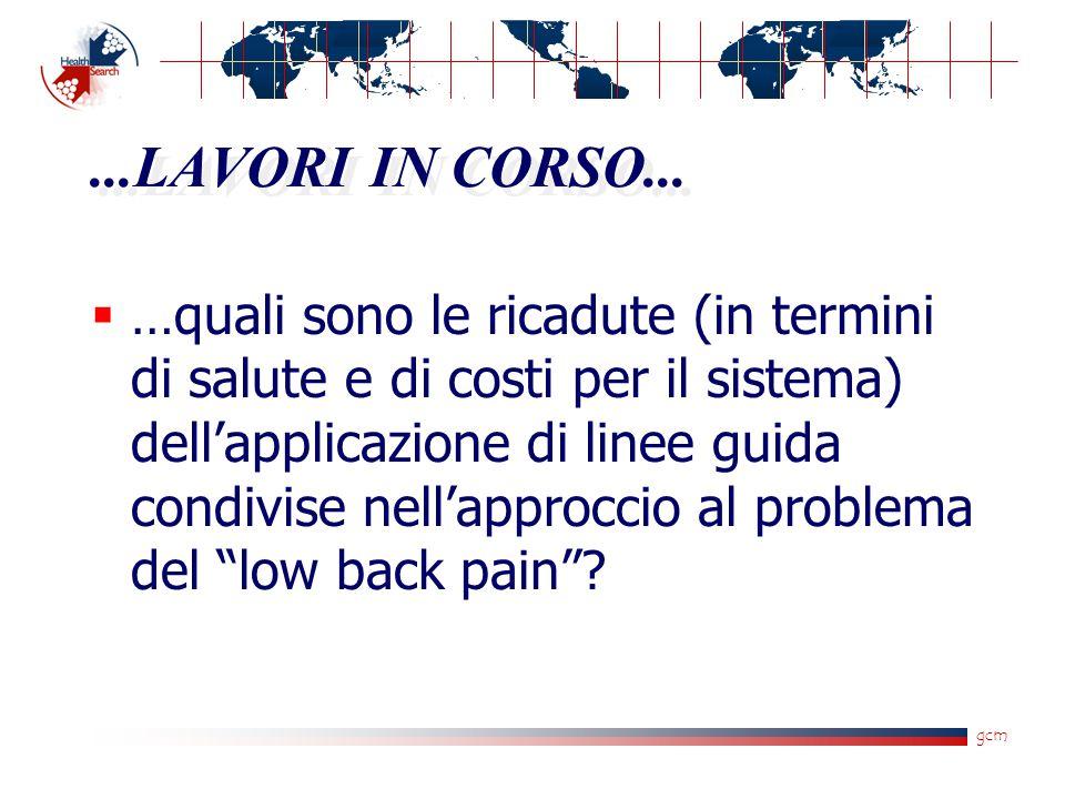 gcm...LAVORI IN CORSO...  …quali sono le ricadute (in termini di salute e di costi per il sistema) dell'applicazione di linee guida condivise nell'ap