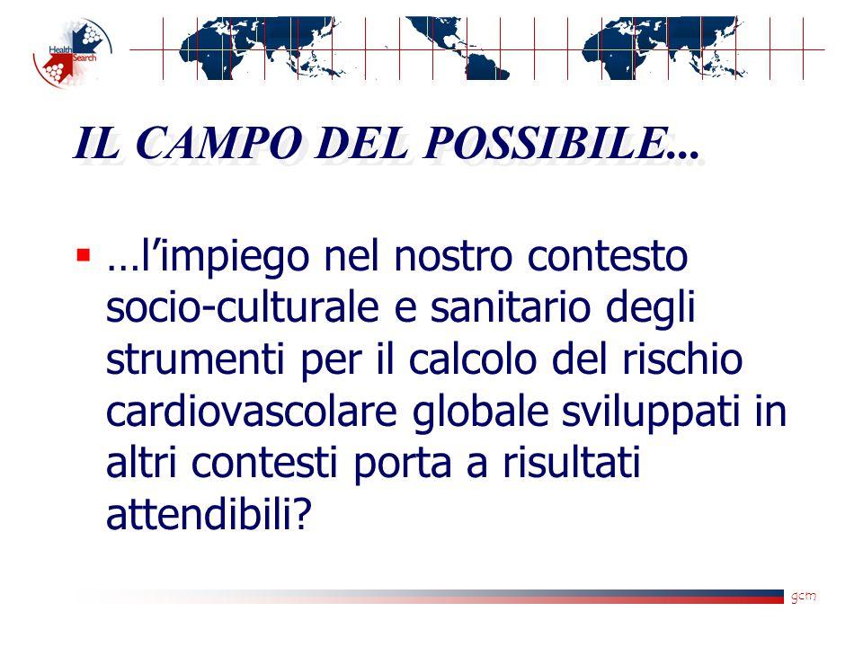 gcm IL CAMPO DEL POSSIBILE...  …l'impiego nel nostro contesto socio-culturale e sanitario degli strumenti per il calcolo del rischio cardiovascolare