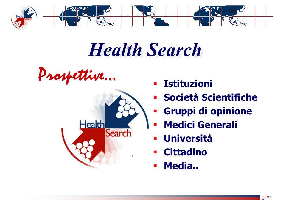 gcm Health Search  Istituzioni  Società Scientifiche  Gruppi di opinione  Medici Generali  Università  Cittadino  Media.. Prospettive…