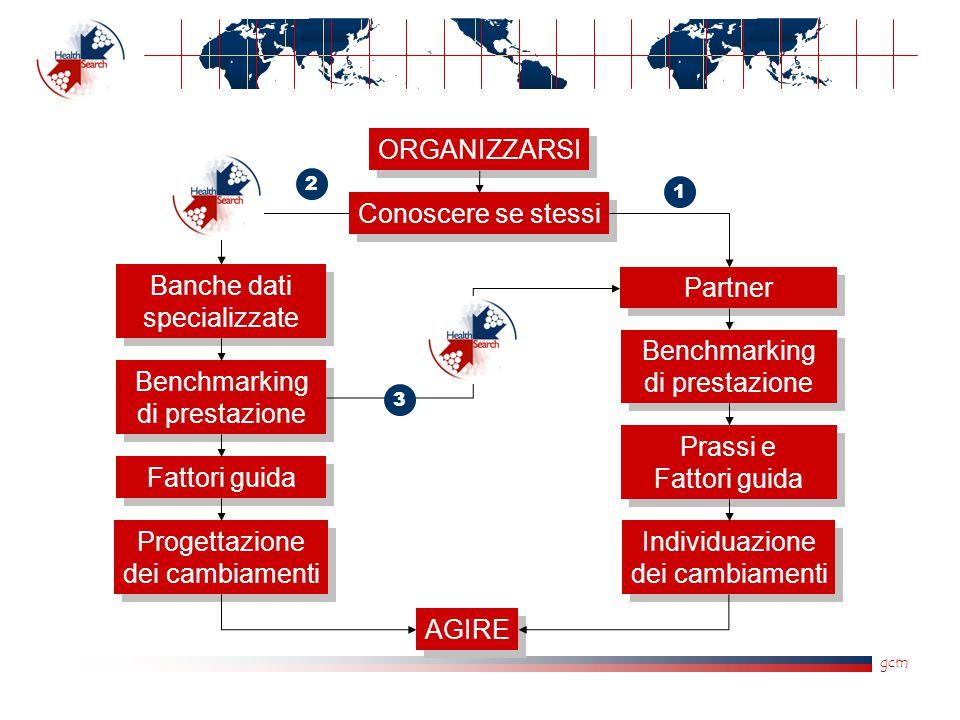 gcm ORGANIZZARSI Fattori guida Banche dati specializzate Conoscere se stessi Partner AGIRE Benchmarking di prestazione Progettazione dei cambiamenti B