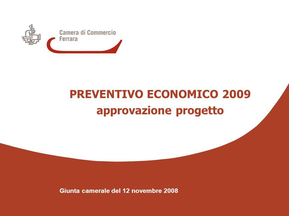 PREVENTIVO ECONOMICO approvazione progetto Giunta camerale del 12 novembre 2008 COPERTURA DISAVANZO