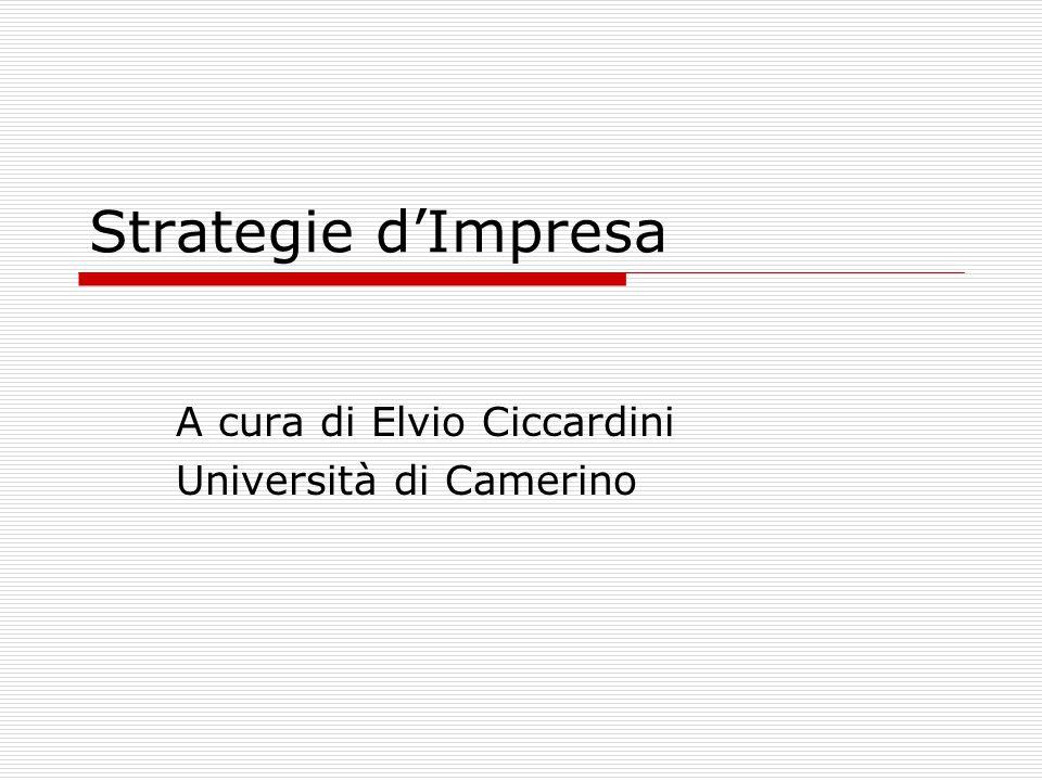Strategie d'Impresa A cura di Elvio Ciccardini Università di Camerino