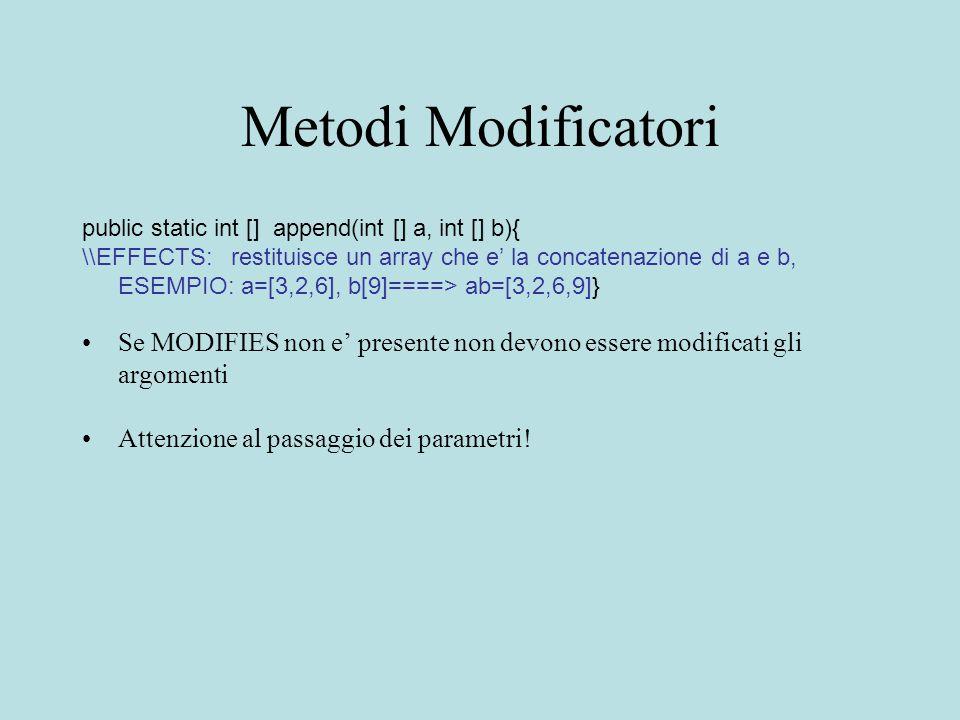 Metodi Modificatori public static int [] append(int [] a, int [] b){ \\EFFECTS: restituisce un array che e' la concatenazione di a e b, ESEMPIO: a=[3,2,6], b[9]====> ab=[3,2,6,9]} Se MODIFIES non e' presente non devono essere modificati gli argomenti Attenzione al passaggio dei parametri!