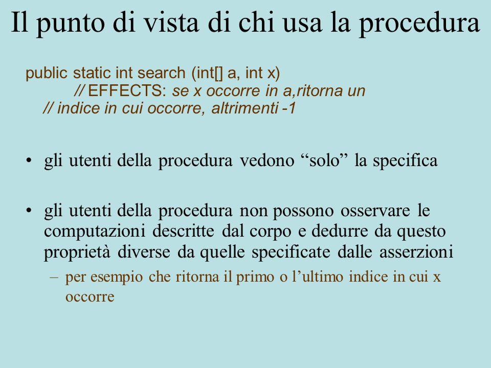 Il punto di vista di chi usa la procedura gli utenti della procedura vedono solo la specifica gli utenti della procedura non possono osservare le computazioni descritte dal corpo e dedurre da questo proprietà diverse da quelle specificate dalle asserzioni –per esempio che ritorna il primo o l'ultimo indice in cui x occorre public static int search (int[] a, int x) // EFFECTS: se x occorre in a,ritorna un // indice in cui occorre, altrimenti -1