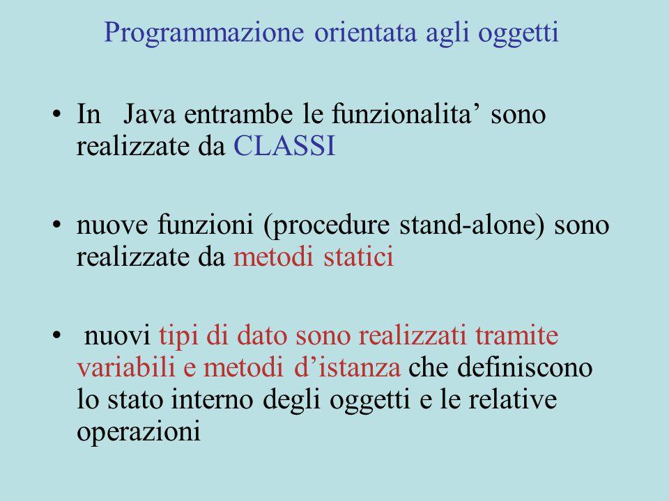 Programmazione orientata agli oggetti In Java entrambe le funzionalita' sono realizzate da CLASSI nuove funzioni (procedure stand-alone) sono realizzate da metodi statici nuovi tipi di dato sono realizzati tramite variabili e metodi d'istanza che definiscono lo stato interno degli oggetti e le relative operazioni