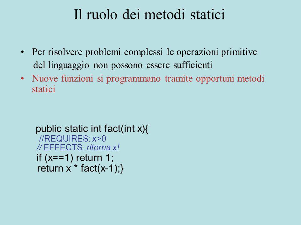 Il ruolo dei metodi statici Per risolvere problemi complessi le operazioni primitive del linguaggio non possono essere sufficienti Nuove funzioni si programmano tramite opportuni metodi statici public static int fact(int x){ //REQUIRES: x>0 // EFFECTS: ritorna x.