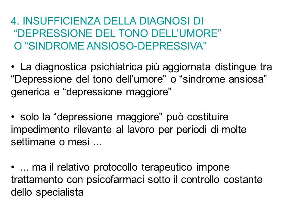 La diagnostica psichiatrica più aggiornata distingue tra Depressione del tono dell'umore o sindrome ansiosa generica e depressione maggiore solo la depressione maggiore può costituire impedimento rilevante al lavoro per periodi di molte settimane o mesi......