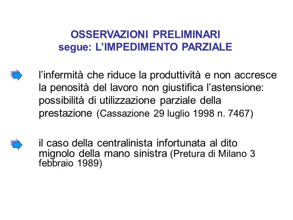 il caso della centralinista infortunata al dito mignolo della mano sinistra (Pretura di Milano 3 febbraio 1989) OSSERVAZIONI PRELIMINARI segue: L'IMPEDIMENTO PARZIALE l'infermità che riduce la produttività e non accresce la penosità del lavoro non giustifica l'astensione: possibilità di utilizzazione parziale della prestazione (Cassazione 29 luglio 1998 n.