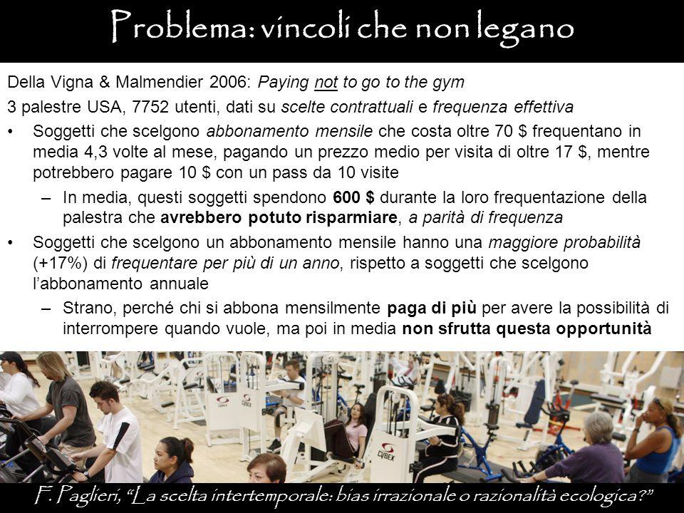Problema: vincoli che non legano Della Vigna & Malmendier 2006: Paying not to go to the gym 3 palestre USA, 7752 utenti, dati su scelte contrattuali e