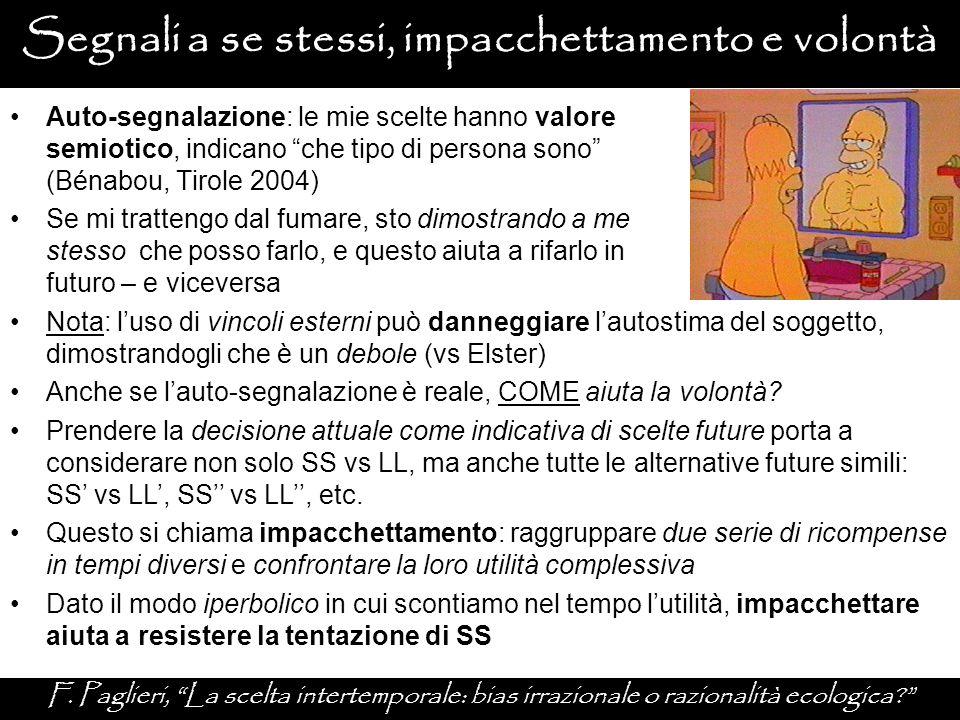 """Segnali a se stessi, impacchettamento e volontà F. Paglieri, """"La scelta intertemporale: bias irrazionale o razionalità ecologica?"""" Nota: l'uso di vinc"""