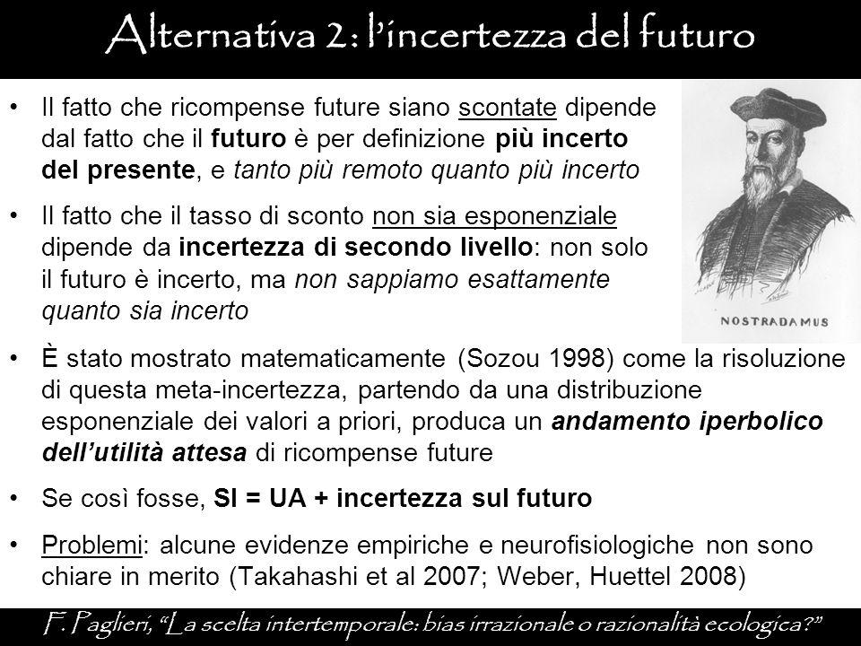 Alternativa 2: l'incertezza del futuro Il fatto che ricompense future siano scontate dipende dal fatto che il futuro è per definizione più incerto del