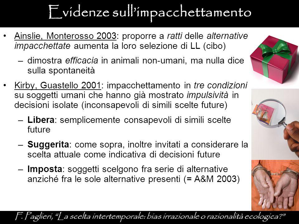 """Evidenze sull'impacchettamento F. Paglieri, """"La scelta intertemporale: bias irrazionale o razionalità ecologica?"""" Ainslie, Monterosso 2003: proporre a"""