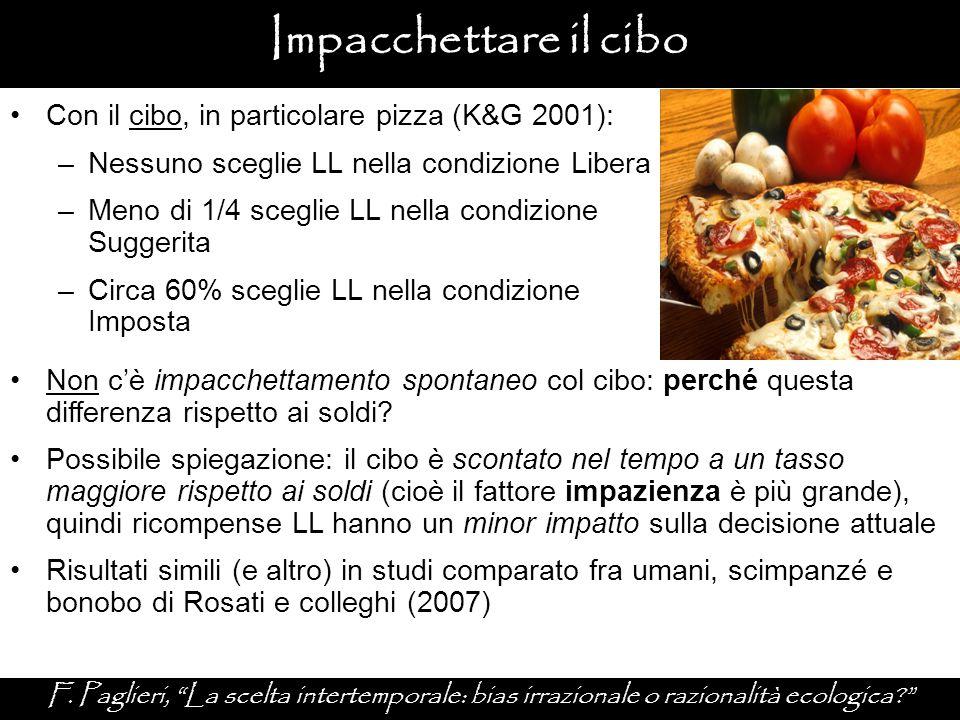 """Impacchettare il cibo F. Paglieri, """"La scelta intertemporale: bias irrazionale o razionalità ecologica?"""" Con il cibo, in particolare pizza (K&G 2001):"""