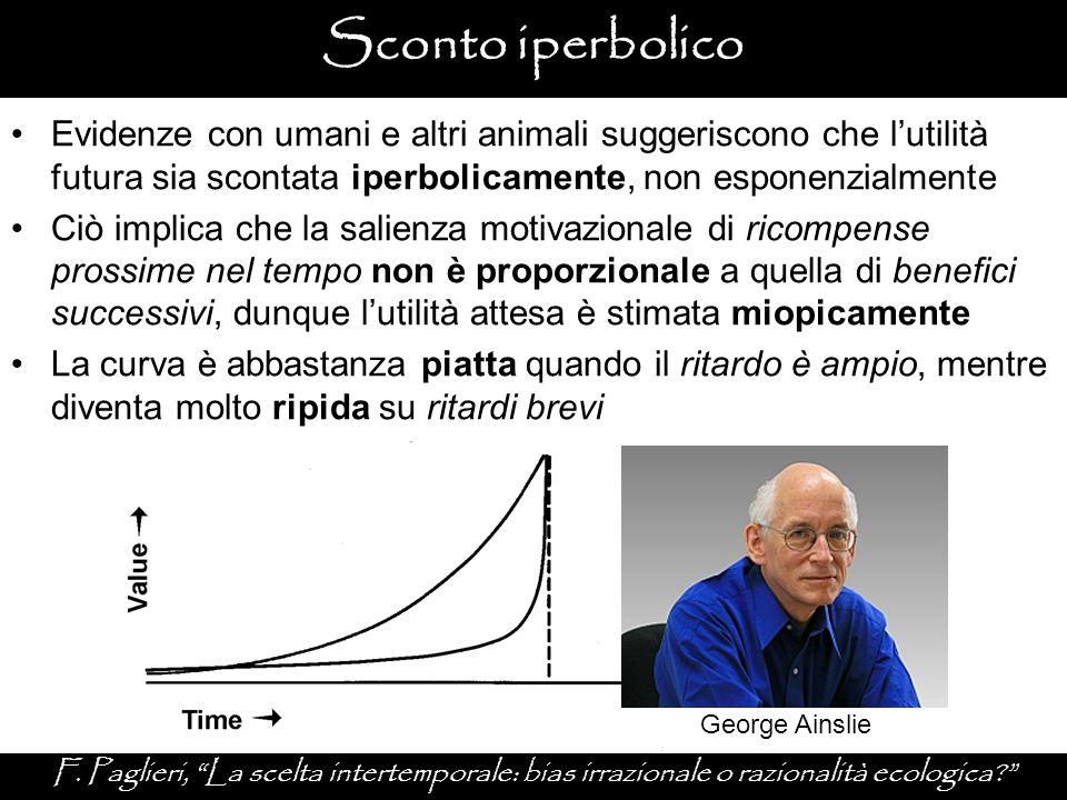 """George Ainslie Sconto iperbolico F. Paglieri, """"La scelta intertemporale: bias irrazionale o razionalità ecologica?"""" Evidenze con umani e altri animali"""