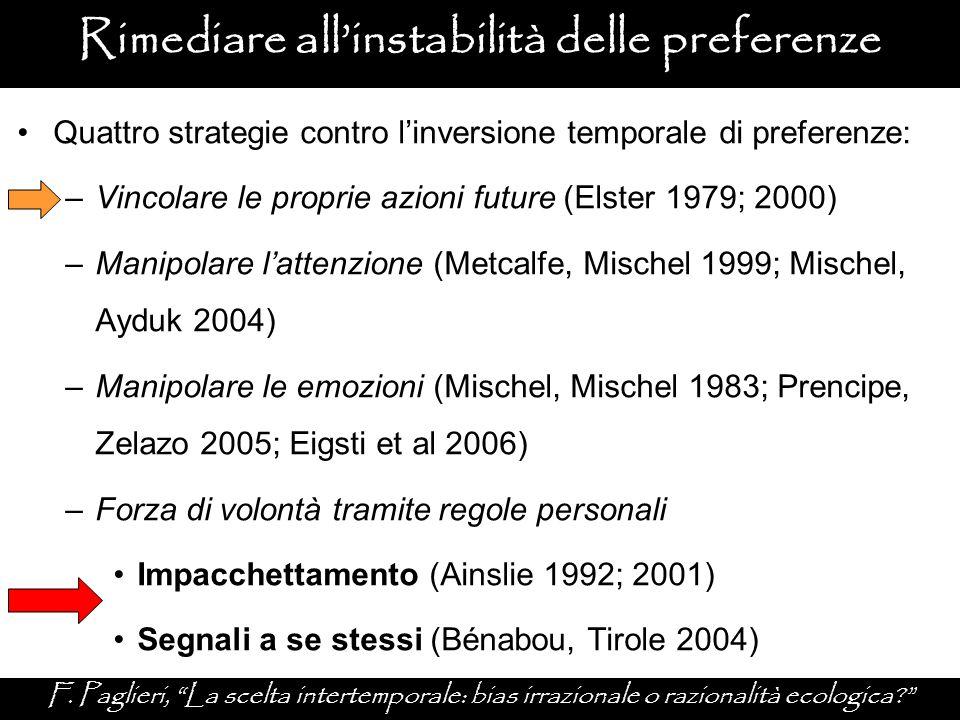 """Rimediare all'instabilità delle preferenze F. Paglieri, """"La scelta intertemporale: bias irrazionale o razionalità ecologica?"""" Quattro strategie contro"""