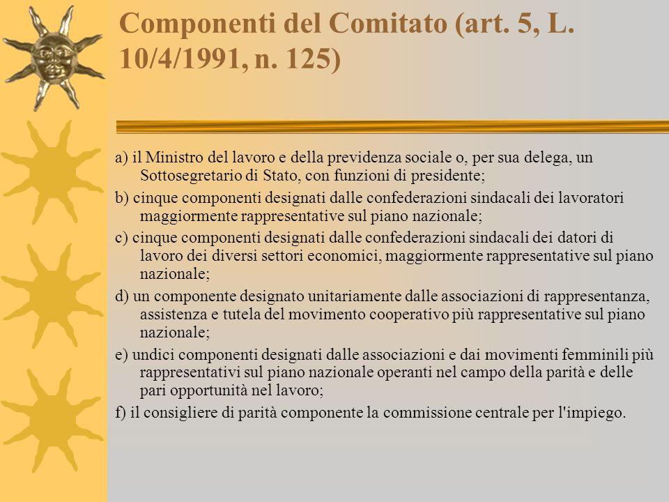 Componenti del Comitato (art. 5, L. 10/4/1991, n.