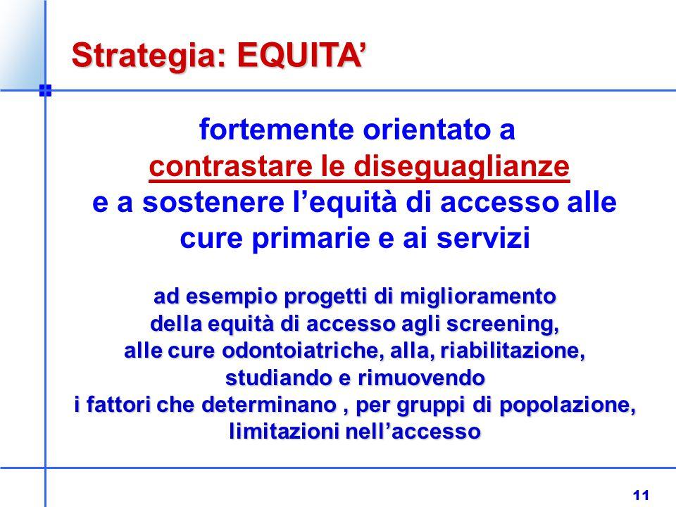 11 fortemente orientato a contrastare le diseguaglianze e a sostenere l'equità di accesso alle cure primarie e ai servizi ad esempio progetti di migli