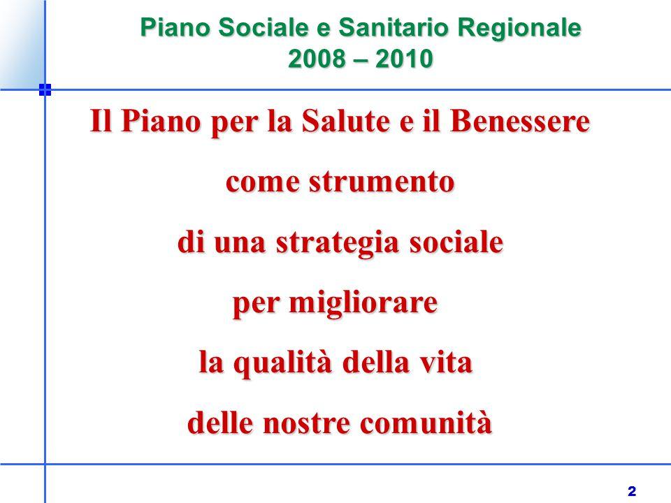 2 Piano Sociale e Sanitario Regionale 2008 – 2010 Il Piano per la Salute e il Benessere come strumento come strumento di una strategia sociale per migliorare la qualità della vita delle nostre comunità