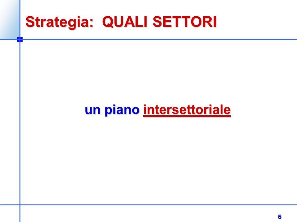 5 Strategia: QUALI SETTORI un piano intersettoriale