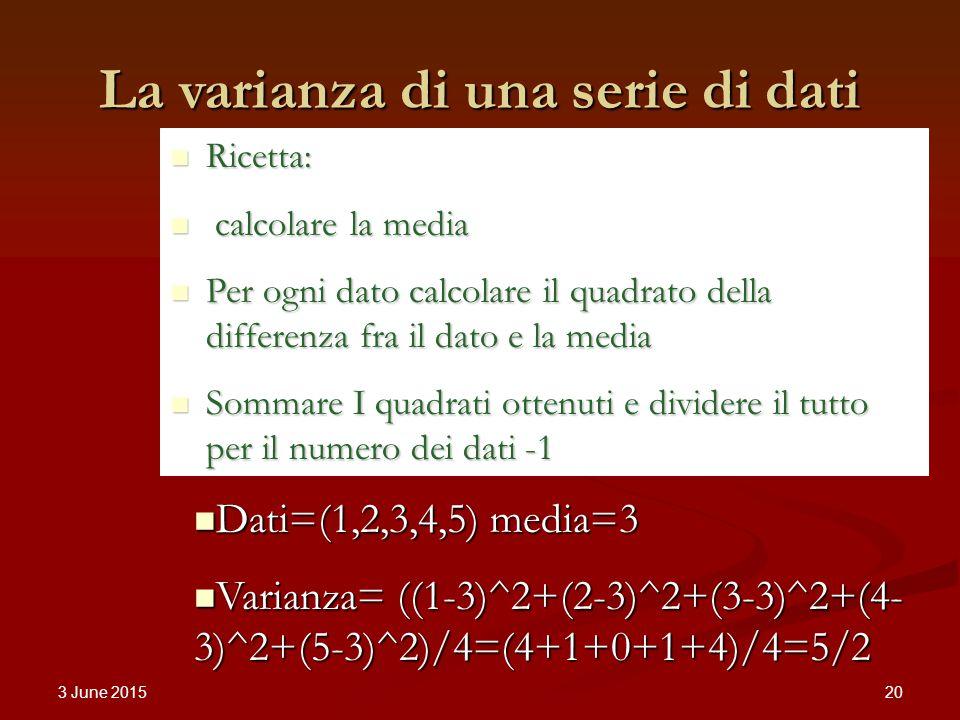 3 June 2015 20 La varianza di una serie di dati Dati=(1,2,3,4,5) media=3 Dati=(1,2,3,4,5) media=3 Varianza= ((1-3)^2+(2-3)^2+(3-3)^2+(4- 3)^2+(5-3)^2)/4=(4+1+0+1+4)/4=5/2 Varianza= ((1-3)^2+(2-3)^2+(3-3)^2+(4- 3)^2+(5-3)^2)/4=(4+1+0+1+4)/4=5/2 Ricetta: Ricetta: calcolare la media calcolare la media Per ogni dato calcolare il quadrato della differenza fra il dato e la media Per ogni dato calcolare il quadrato della differenza fra il dato e la media Sommare I quadrati ottenuti e dividere il tutto per il numero dei dati -1 Sommare I quadrati ottenuti e dividere il tutto per il numero dei dati -1