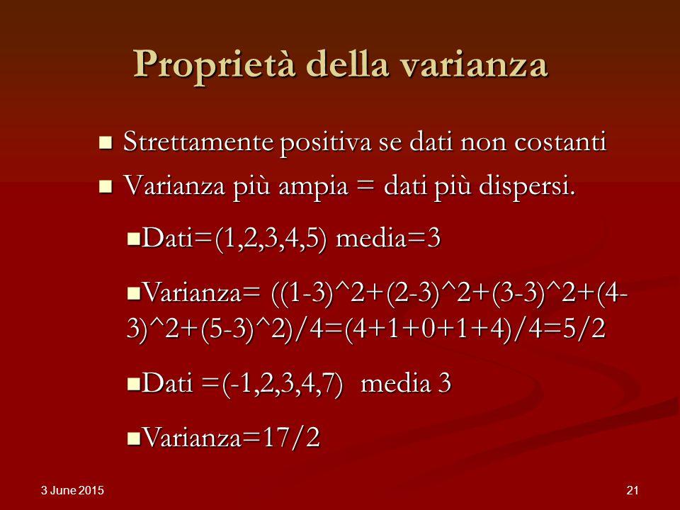 3 June 2015 21 Proprietà della varianza Strettamente positiva se dati non costanti Strettamente positiva se dati non costanti Varianza più ampia = dati più dispersi.