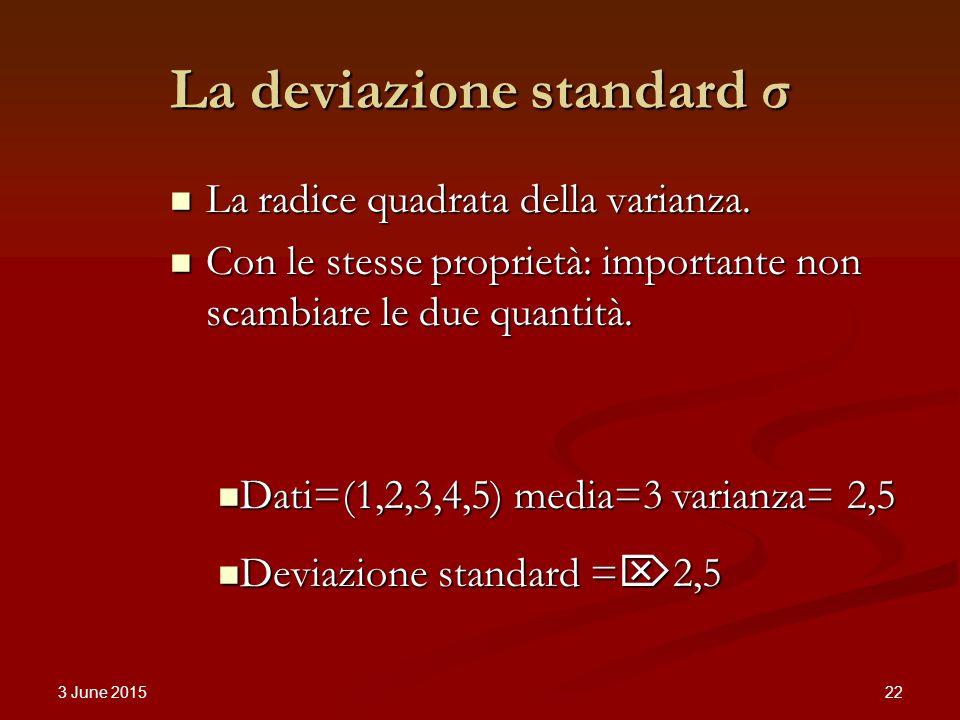 3 June 2015 22 La deviazione standard σ La radice quadrata della varianza.