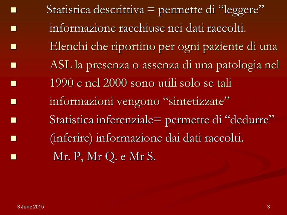 3 June 2015 3 Statistica descrittiva = permette di leggere Statistica descrittiva = permette di leggere informazione racchiuse nei dati raccolti.