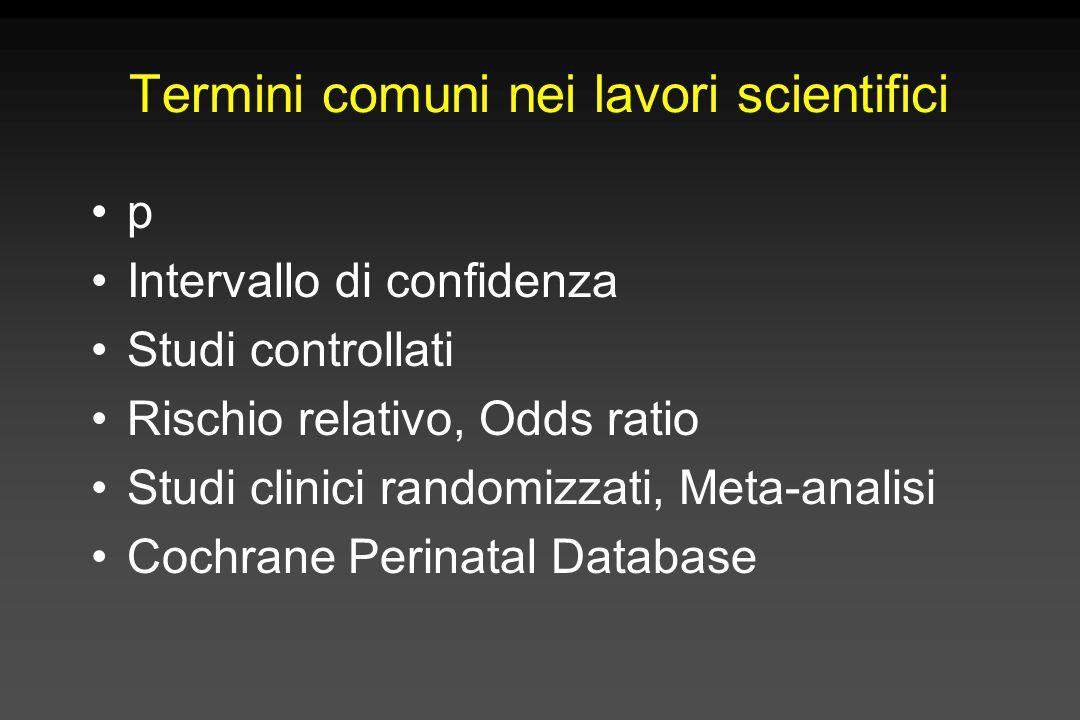Termini comuni nei lavori scientifici p Intervallo di confidenza Studi controllati Rischio relativo, Odds ratio Studi clinici randomizzati, Meta-anali