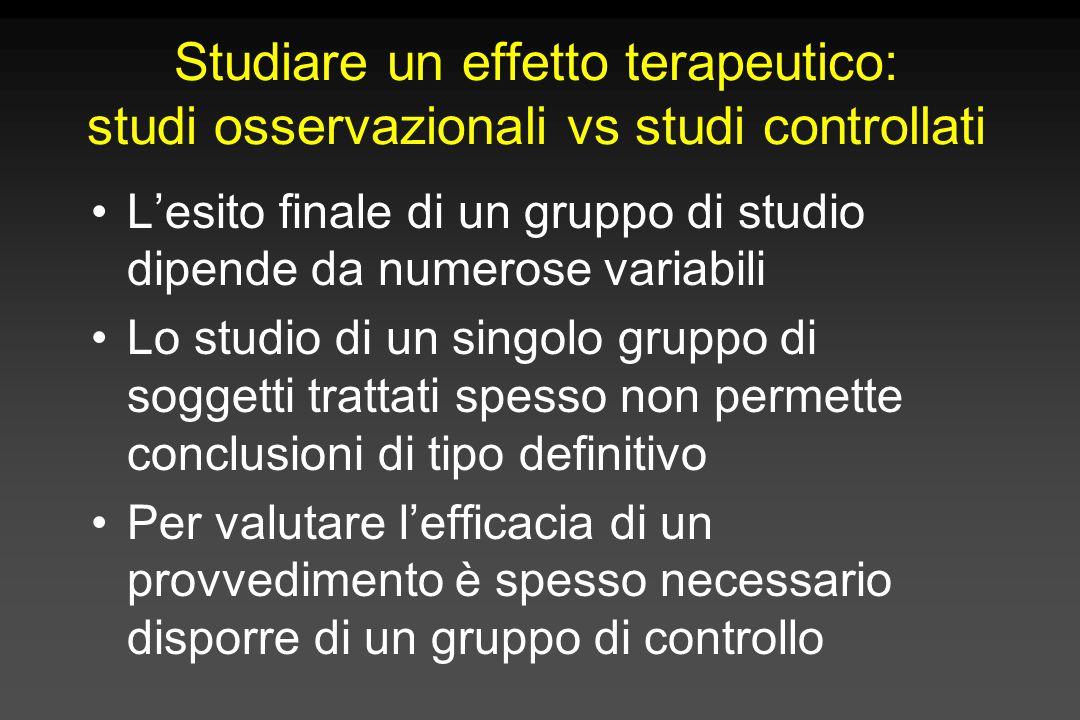 Studiare un effetto terapeutico: studi osservazionali vs studi controllati L'esito finale di un gruppo di studio dipende da numerose variabili Lo stud