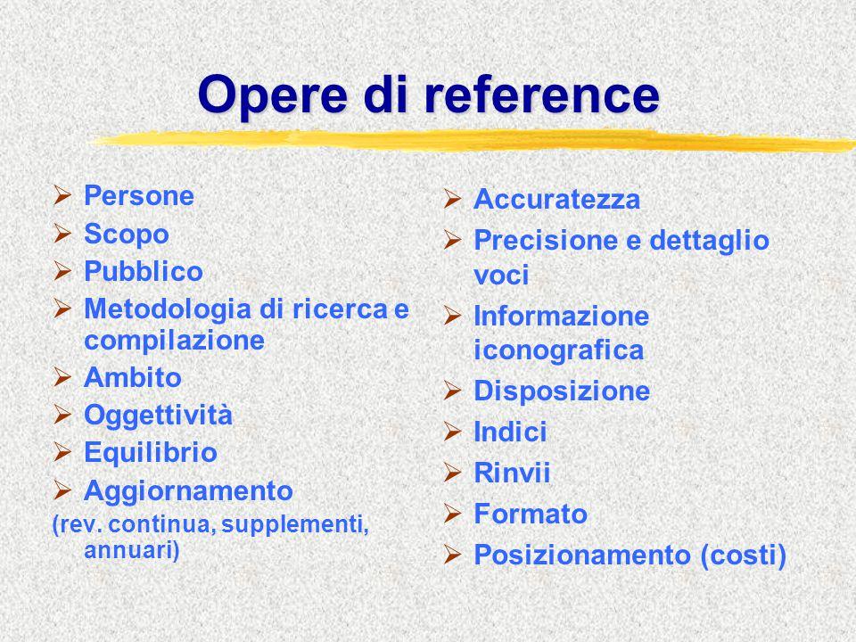 Opere di reference  Persone  Scopo  Pubblico  Metodologia di ricerca e compilazione  Ambito  Oggettività  Equilibrio  Aggiornamento (rev. cont