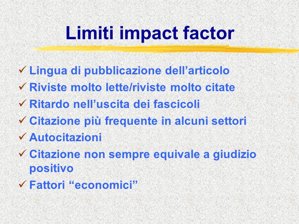 Limiti impact factor Lingua di pubblicazione dell'articolo Riviste molto lette/riviste molto citate Ritardo nell'uscita dei fascicoli Citazione più frequente in alcuni settori Autocitazioni Citazione non sempre equivale a giudizio positivo Fattori economici