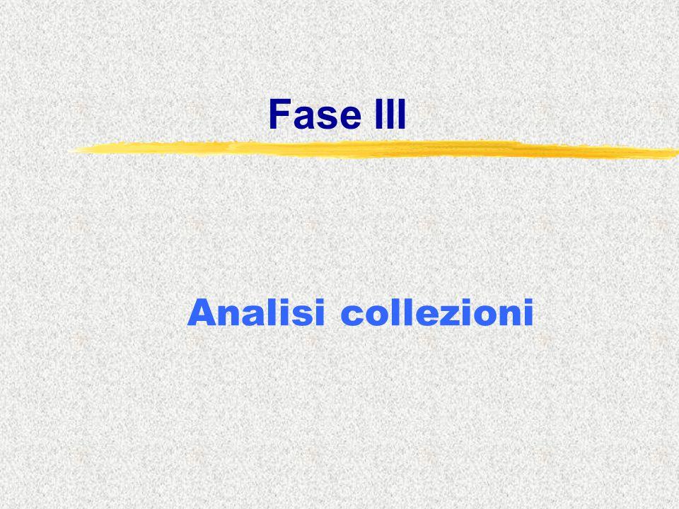 Fase III Analisi collezioni